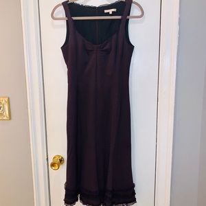 Womens Rebecca Taylor Purple Wool Ruffle Dress
